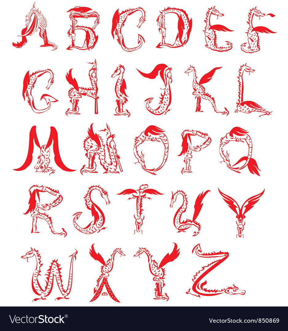 Dragon alphabet fantasy dragon font vector | Price: 1 Credit (USD $1)