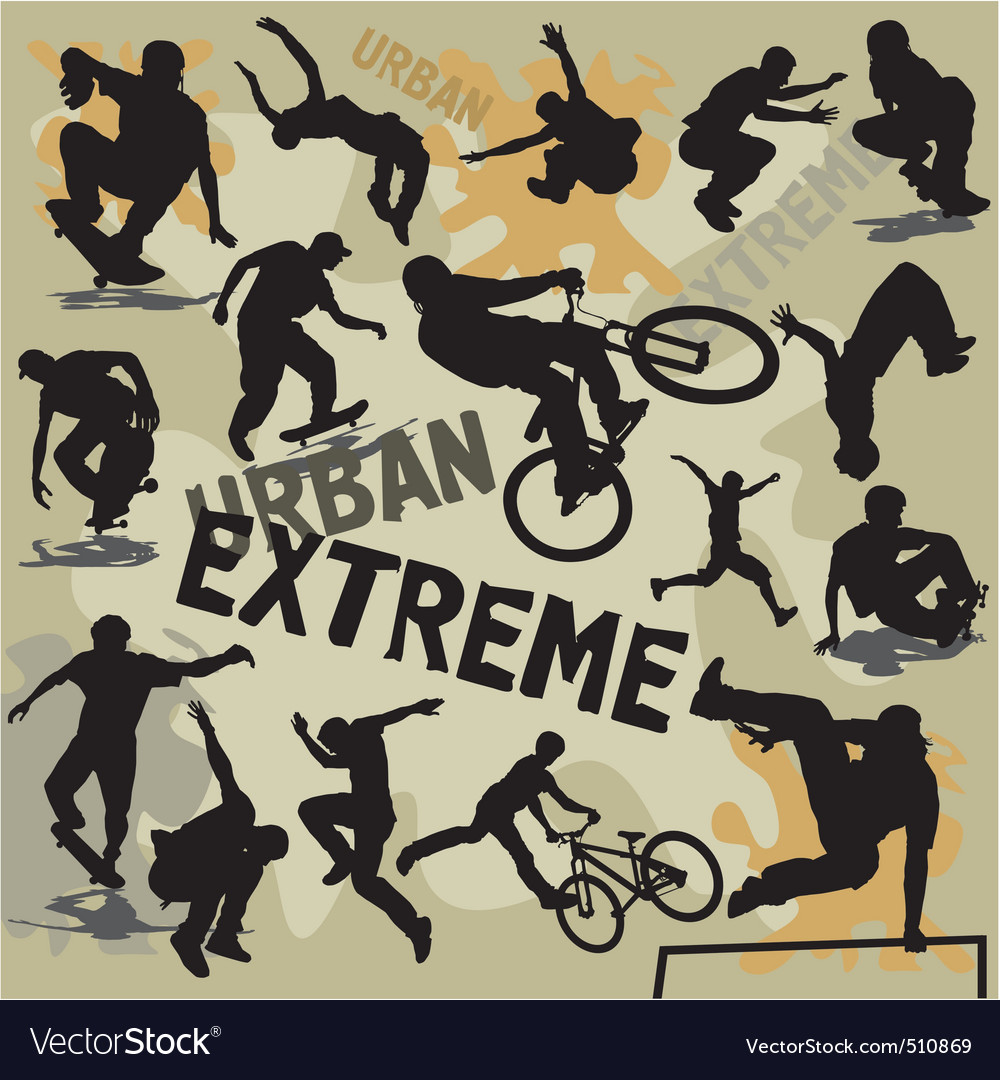 Set extreme urban sports silhouettes vector | Price: 1 Credit (USD $1)