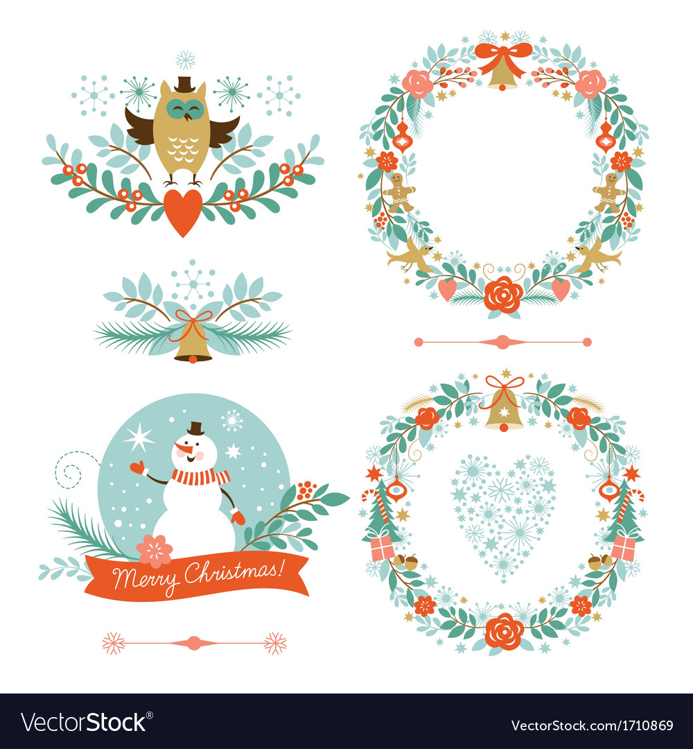 Set of christmas wreaths frames holiday symbols vector | Price: 1 Credit (USD $1)