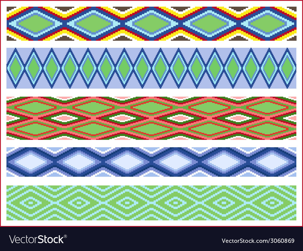 Set of five seamless rhombic patterns vector | Price: 1 Credit (USD $1)