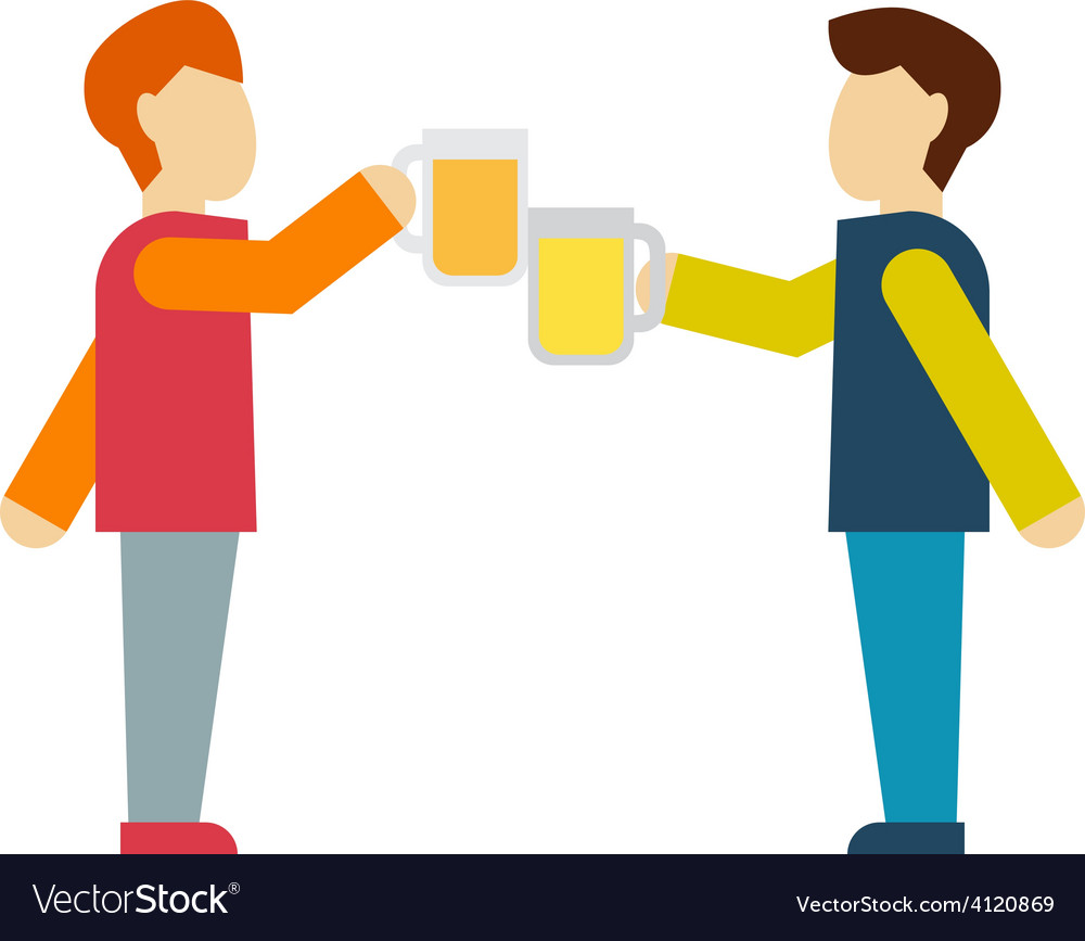 Two male employee enjoy drinking beer vector | Price: 1 Credit (USD $1)