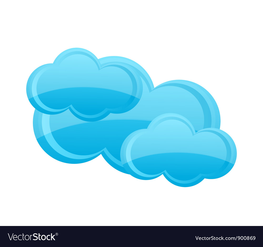 Weather cloud symbol blue color isolated vector | Price: 3 Credit (USD $3)