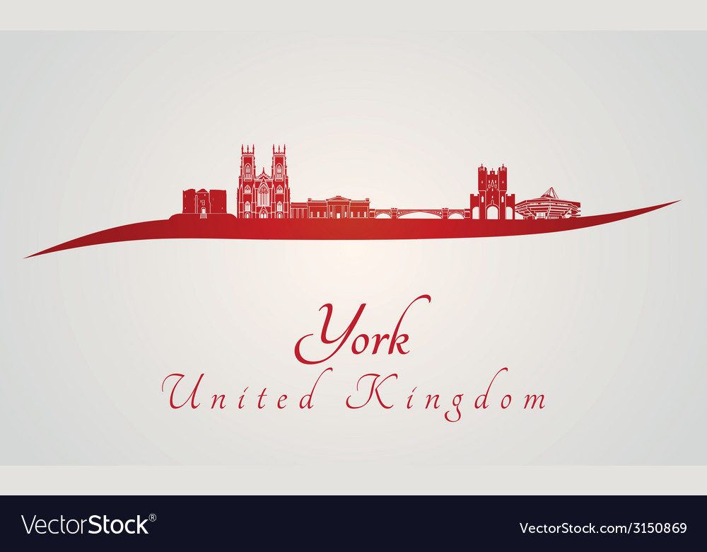 York skyline in red vector | Price: 1 Credit (USD $1)