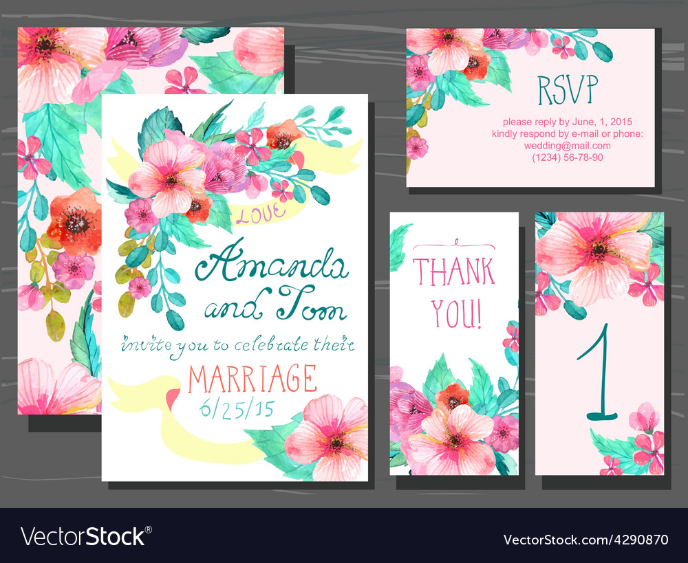 Beautiful set of invitation cards with watercolor vector | Price: 1 Credit (USD $1)