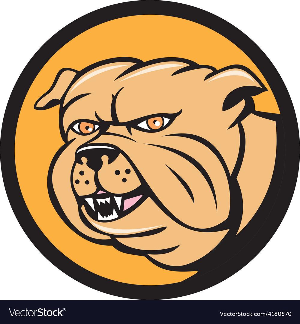 Bulldog head circle cartoon vector | Price: 1 Credit (USD $1)