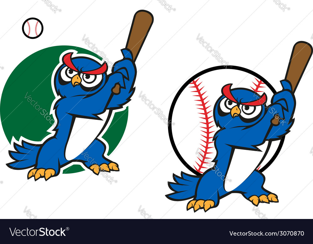Cartoon wise old owl playing baseball vector | Price: 1 Credit (USD $1)