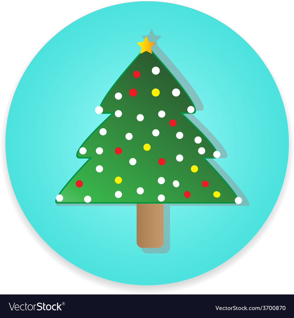 Flat long shadow christmas tree icon isolate vector | Price: 1 Credit (USD $1)
