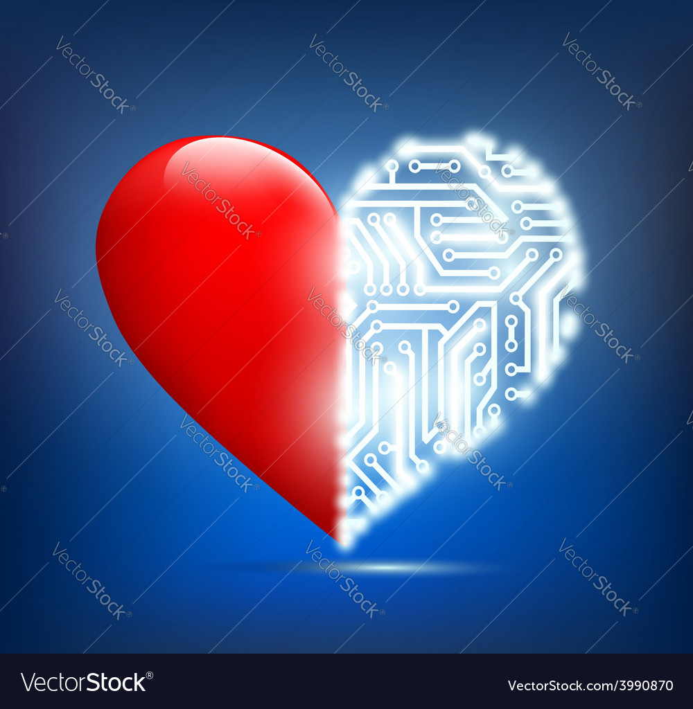 Human heart with the circuit board inside vector | Price: 1 Credit (USD $1)
