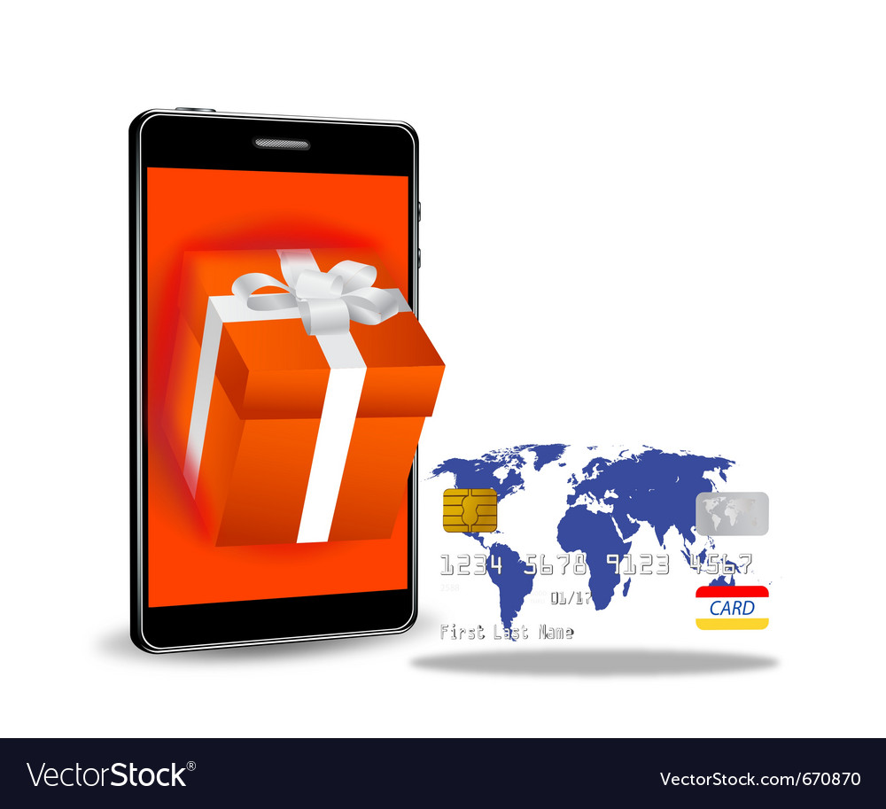 Internet shopping with smart phone vector | Price: 1 Credit (USD $1)