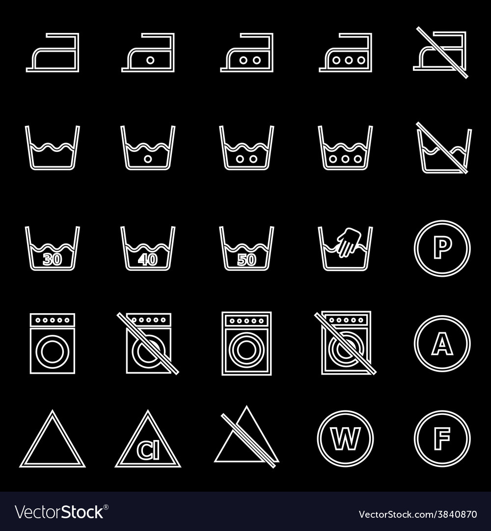 Laundry line icons on black background vector | Price: 1 Credit (USD $1)