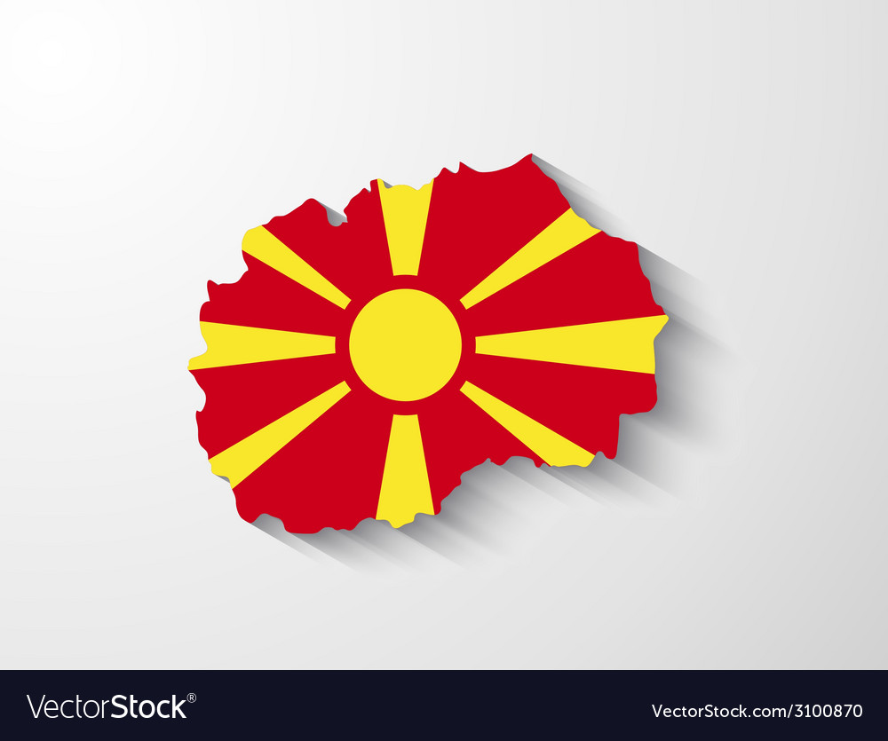 Republic of macedonia map with shadow effect vector | Price: 1 Credit (USD $1)