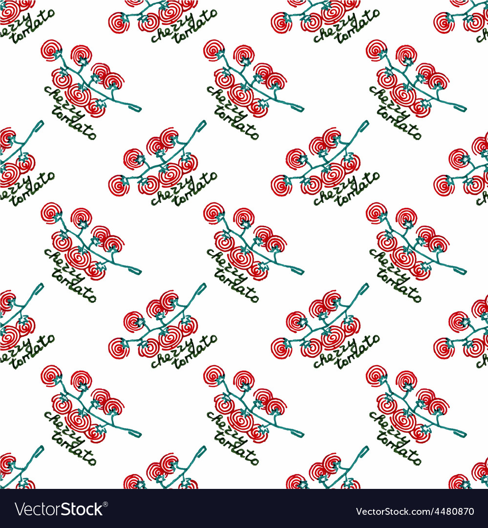 Seamless watercolor pattern with cherry tomatoes vector | Price: 1 Credit (USD $1)