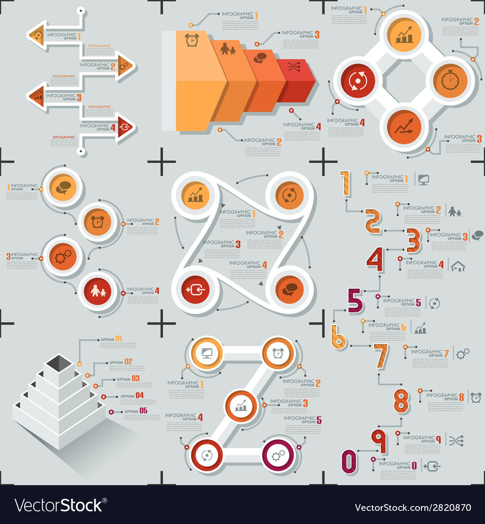 Set of 9 flat minimal infographics vector | Price: 1 Credit (USD $1)
