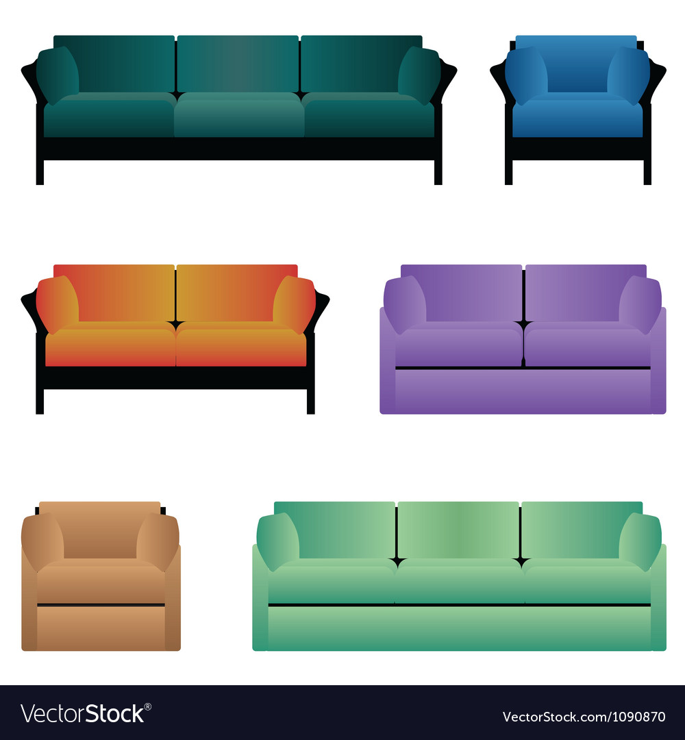 Set of sofas vector | Price: 1 Credit (USD $1)