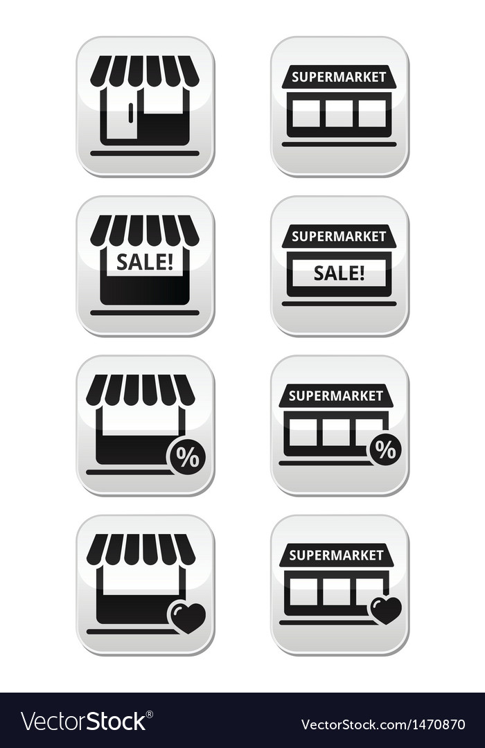 Single shop or store supermarket buttons vector | Price: 1 Credit (USD $1)