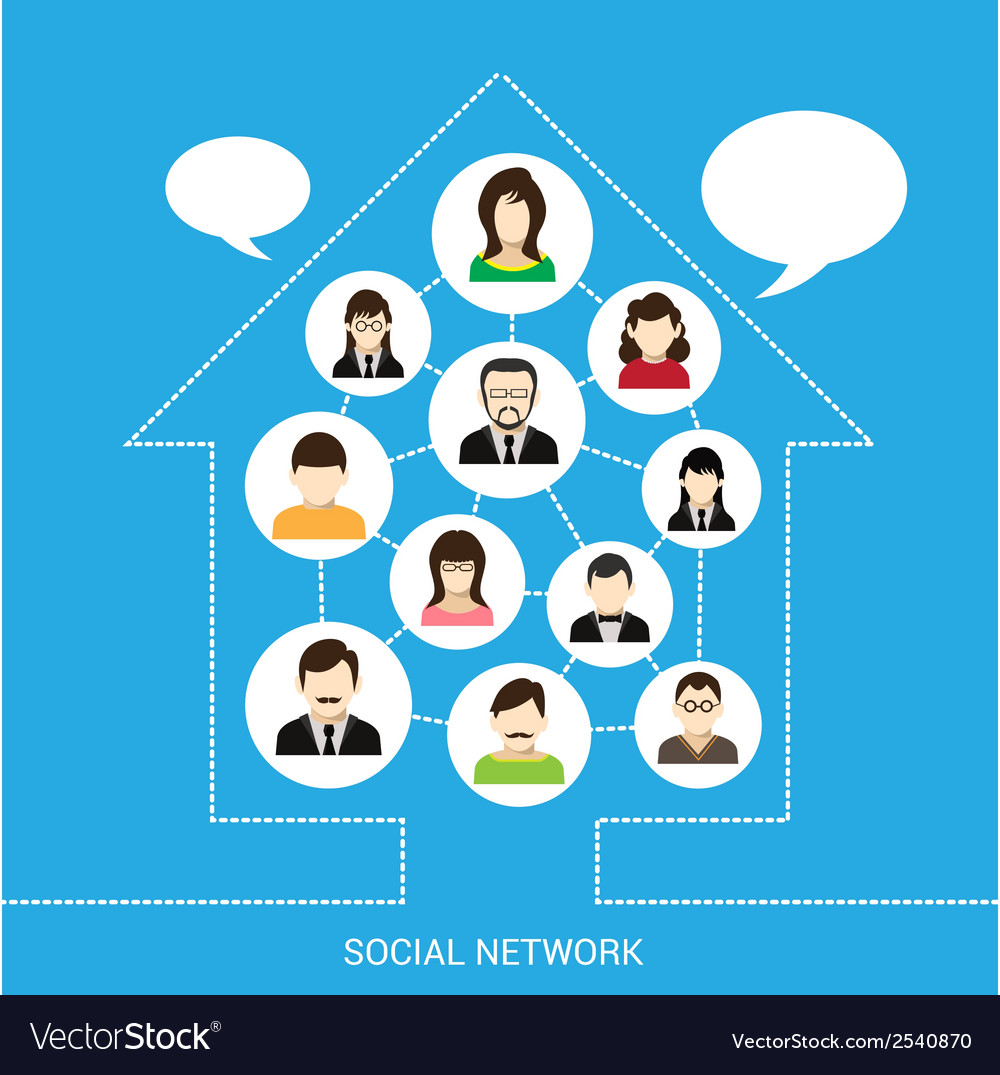 Social network house vector | Price: 1 Credit (USD $1)