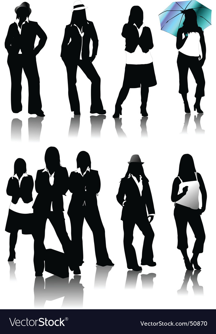 Women silhouettes vector | Price: 1 Credit (USD $1)