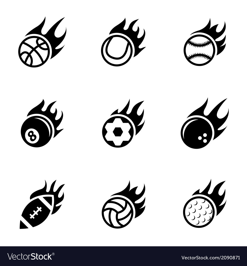 Black fire sport balls icons set vector | Price: 1 Credit (USD $1)