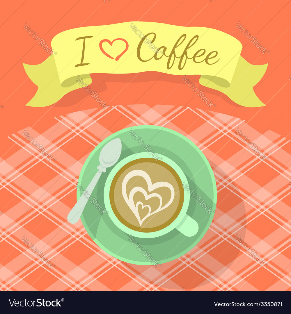 Cappuccino cup with ribbon and inscription vector | Price: 1 Credit (USD $1)