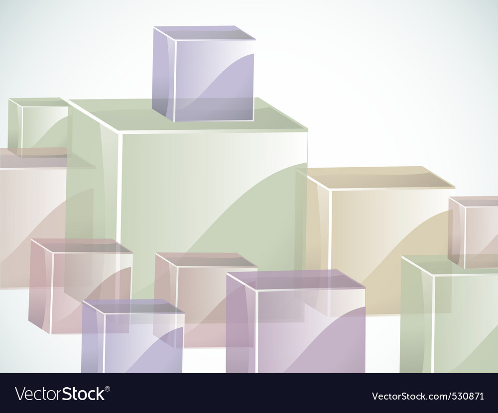 Coloured glass cubes in green blue pink and beige vector | Price: 1 Credit (USD $1)