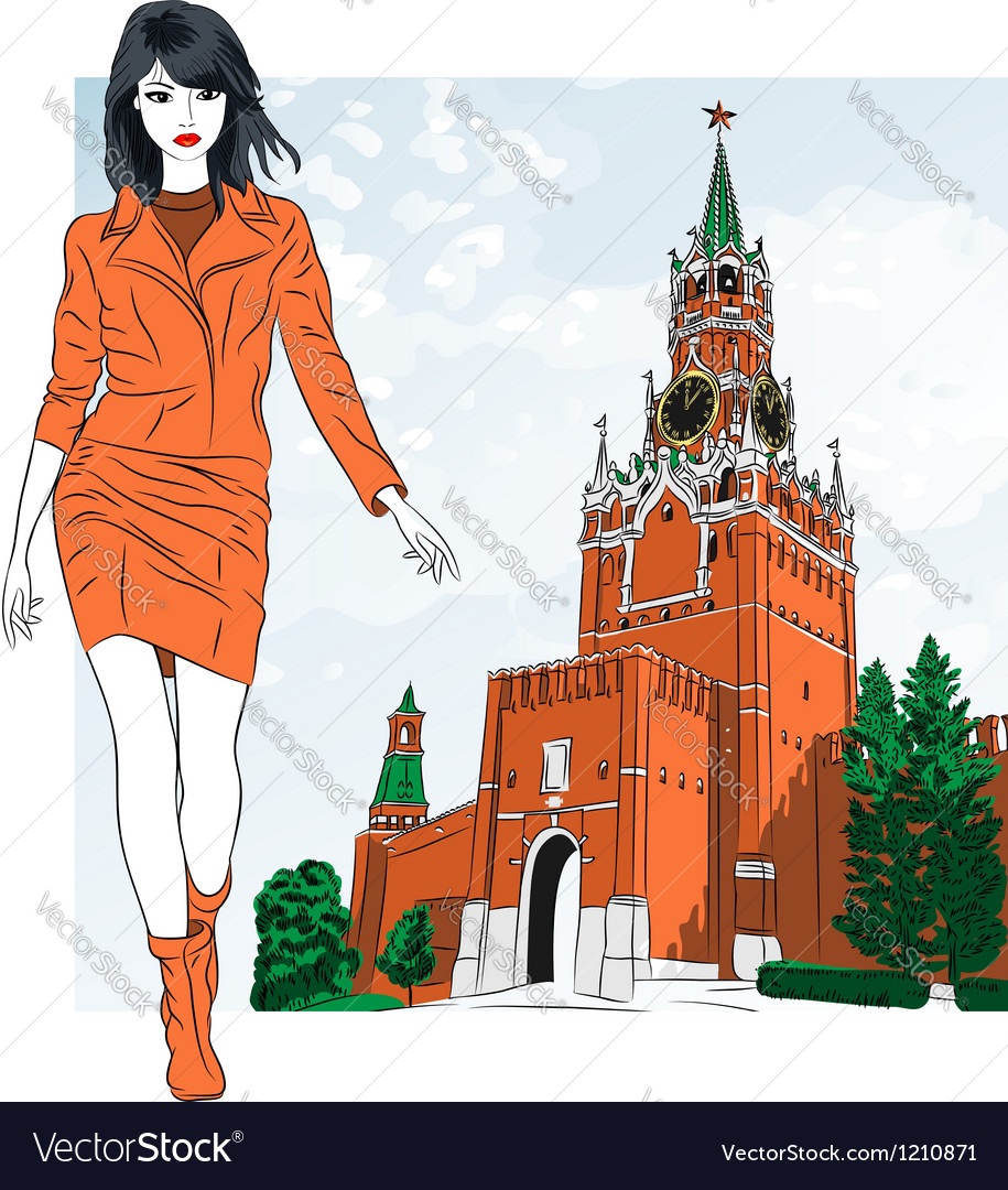 Fashion girl in moscow vector | Price: 3 Credit (USD $3)