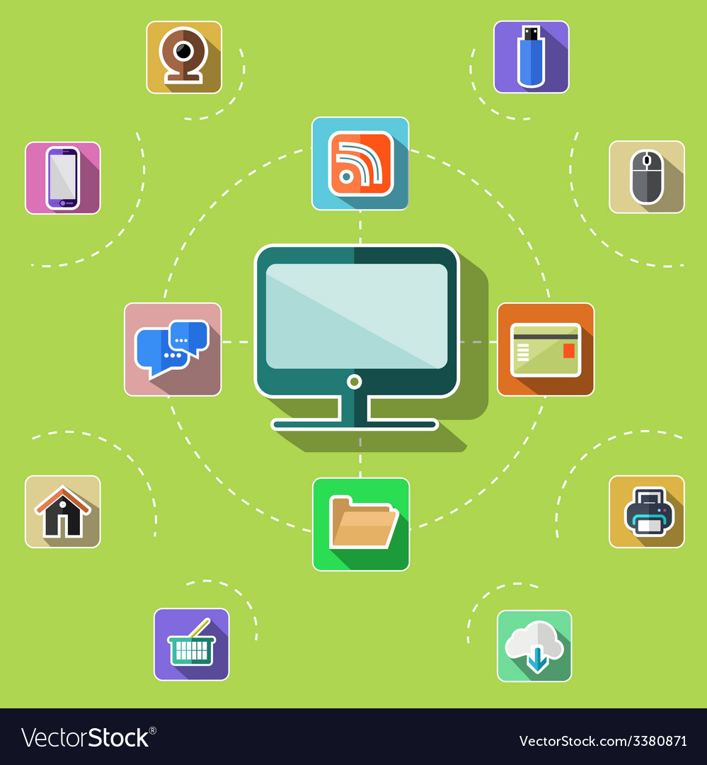 Flat design set with web computer mobile icons vector | Price: 1 Credit (USD $1)