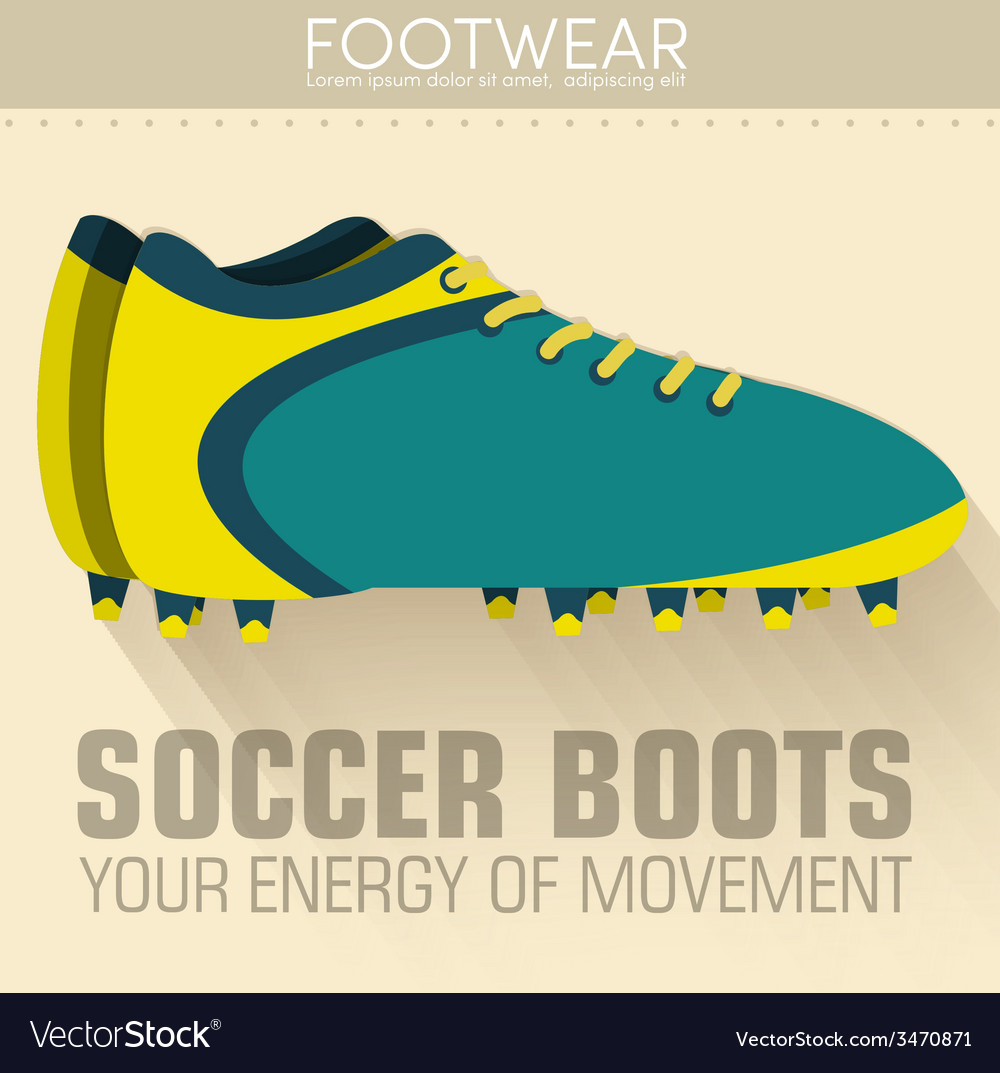 Flat sport soccer boots icon background concept vector | Price: 1 Credit (USD $1)