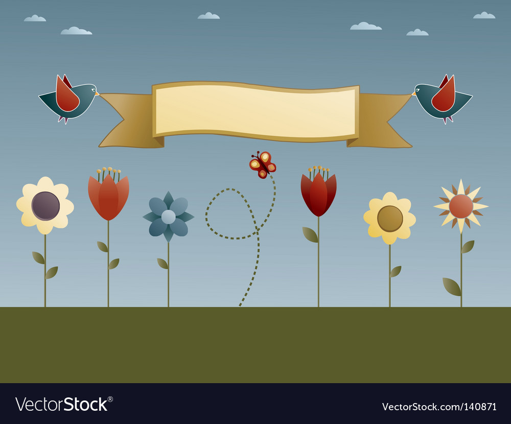 Flower garden vector | Price: 1 Credit (USD $1)