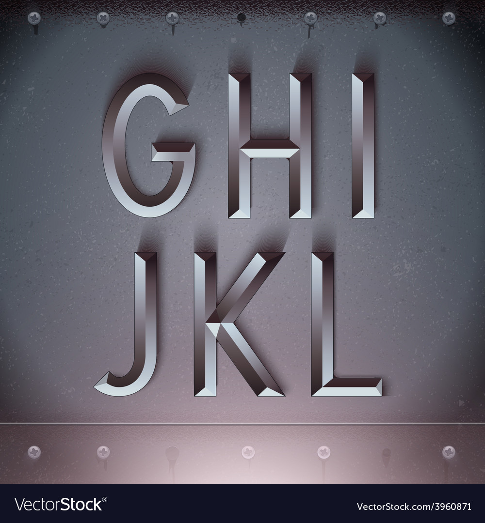 Metal embossed font from g to l vector | Price: 3 Credit (USD $3)