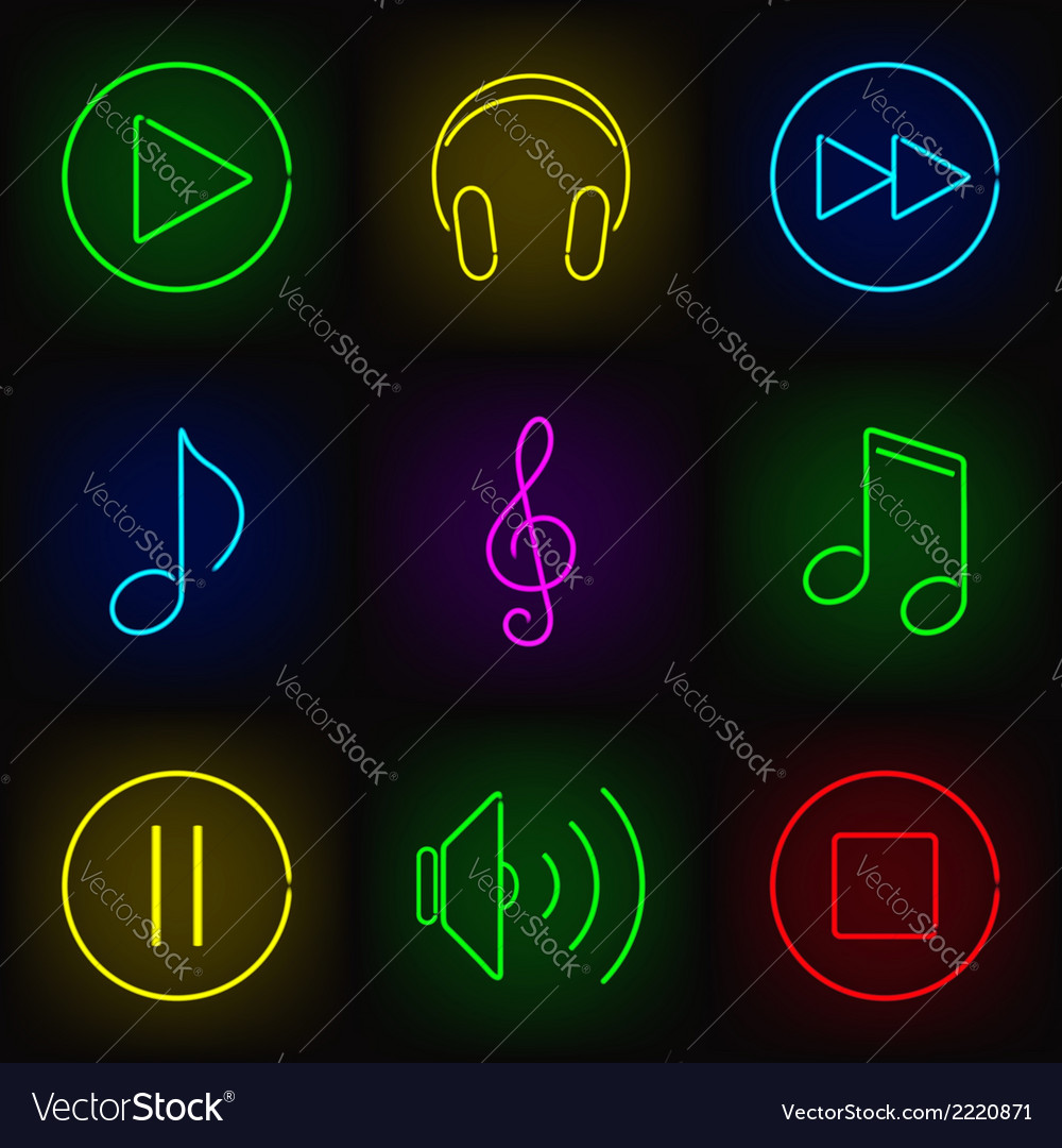 Music neon icons vector | Price: 1 Credit (USD $1)