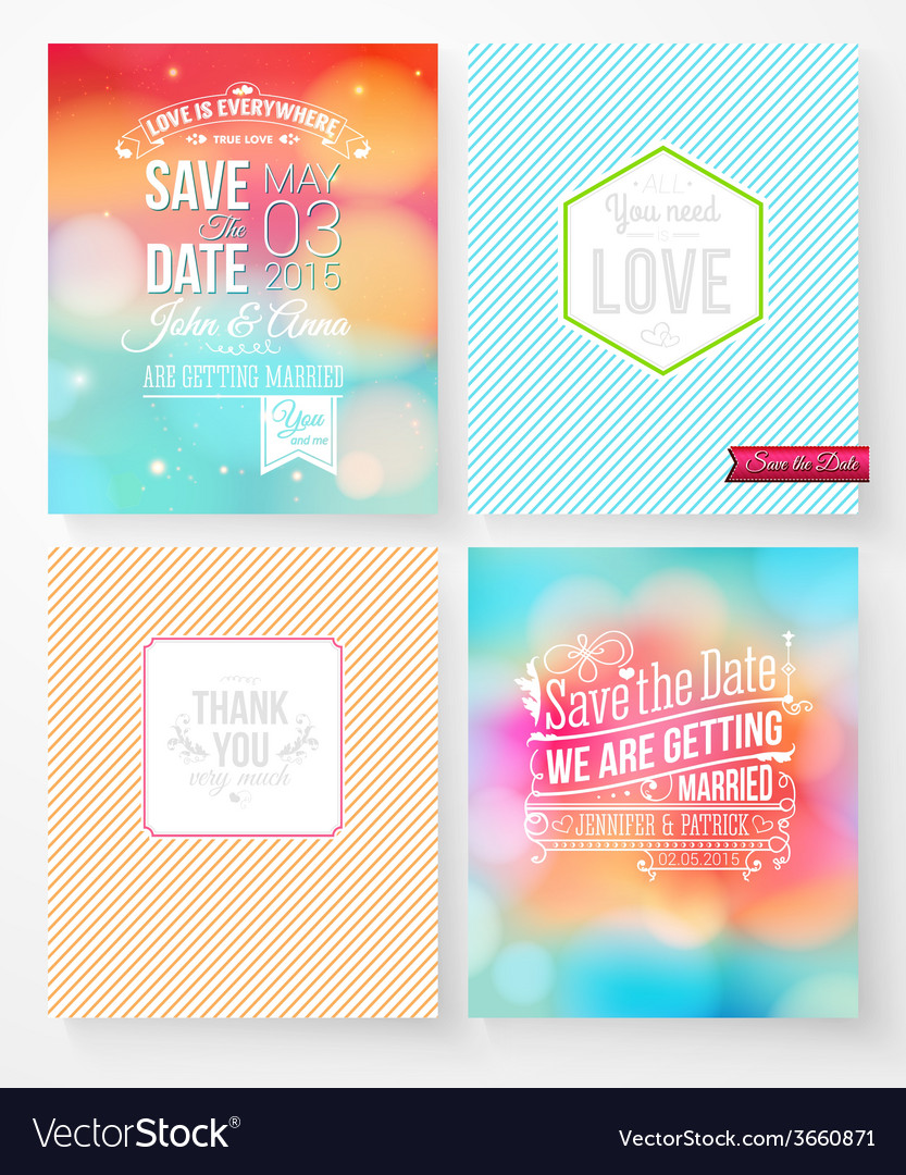 Set of wedding invitation templates vector   Price: 1 Credit (USD $1)