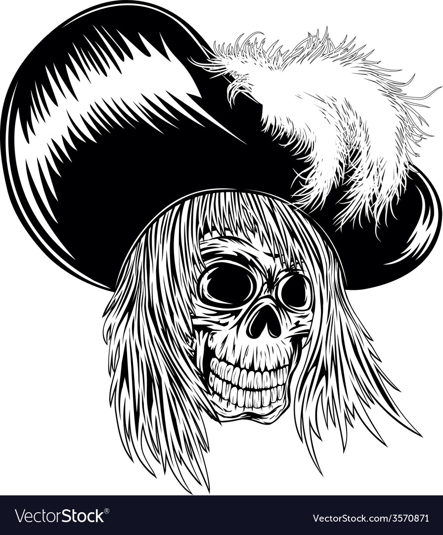 Skull in hat with feathers vector | Price: 1 Credit (USD $1)
