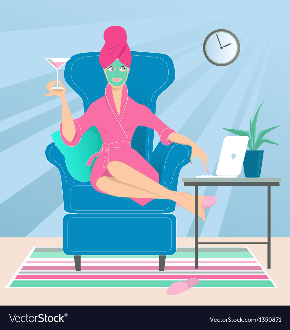 Working from home vector | Price: 3 Credit (USD $3)