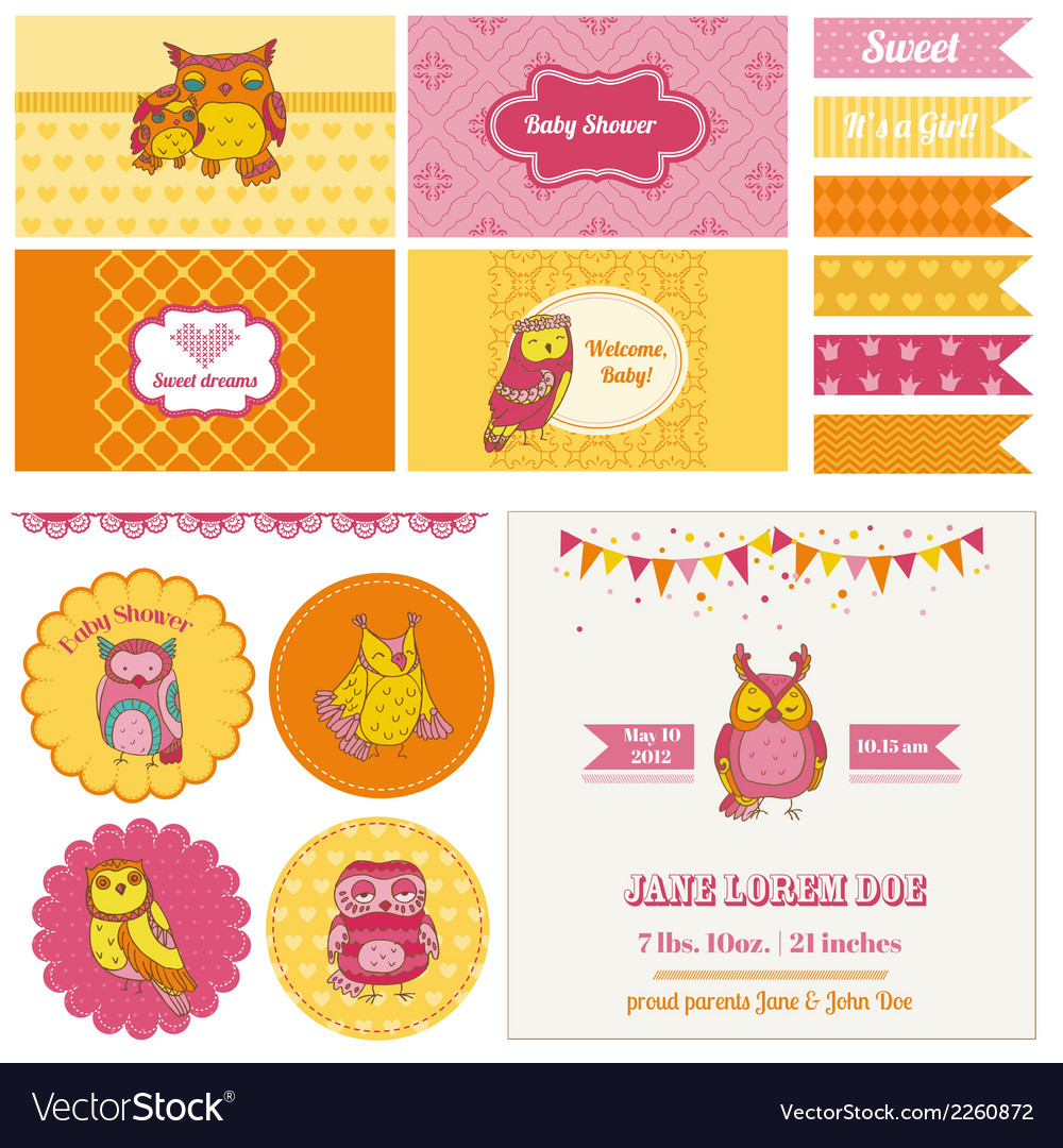 Baby shower owl party set vector | Price: 3 Credit (USD $3)
