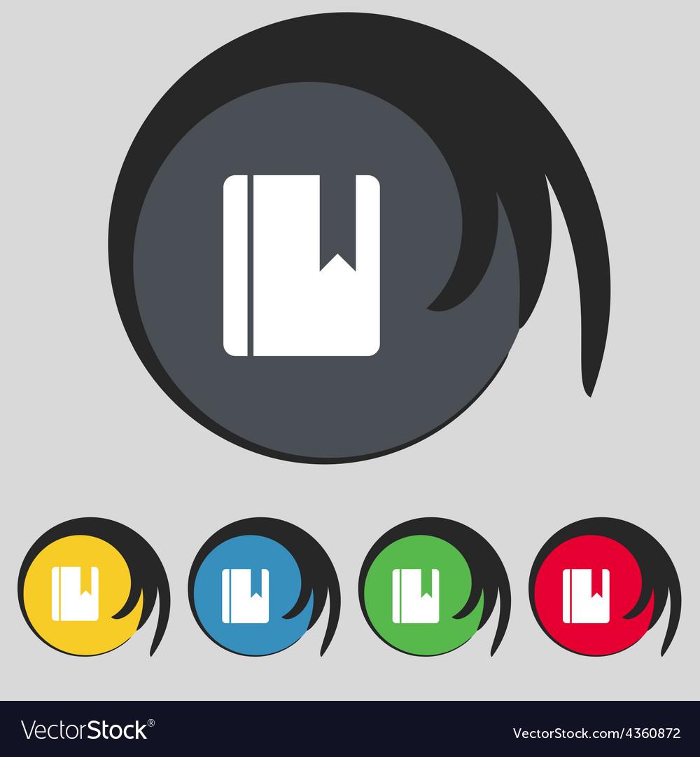 Book bookmark icon sign symbol on five colored vector | Price: 1 Credit (USD $1)