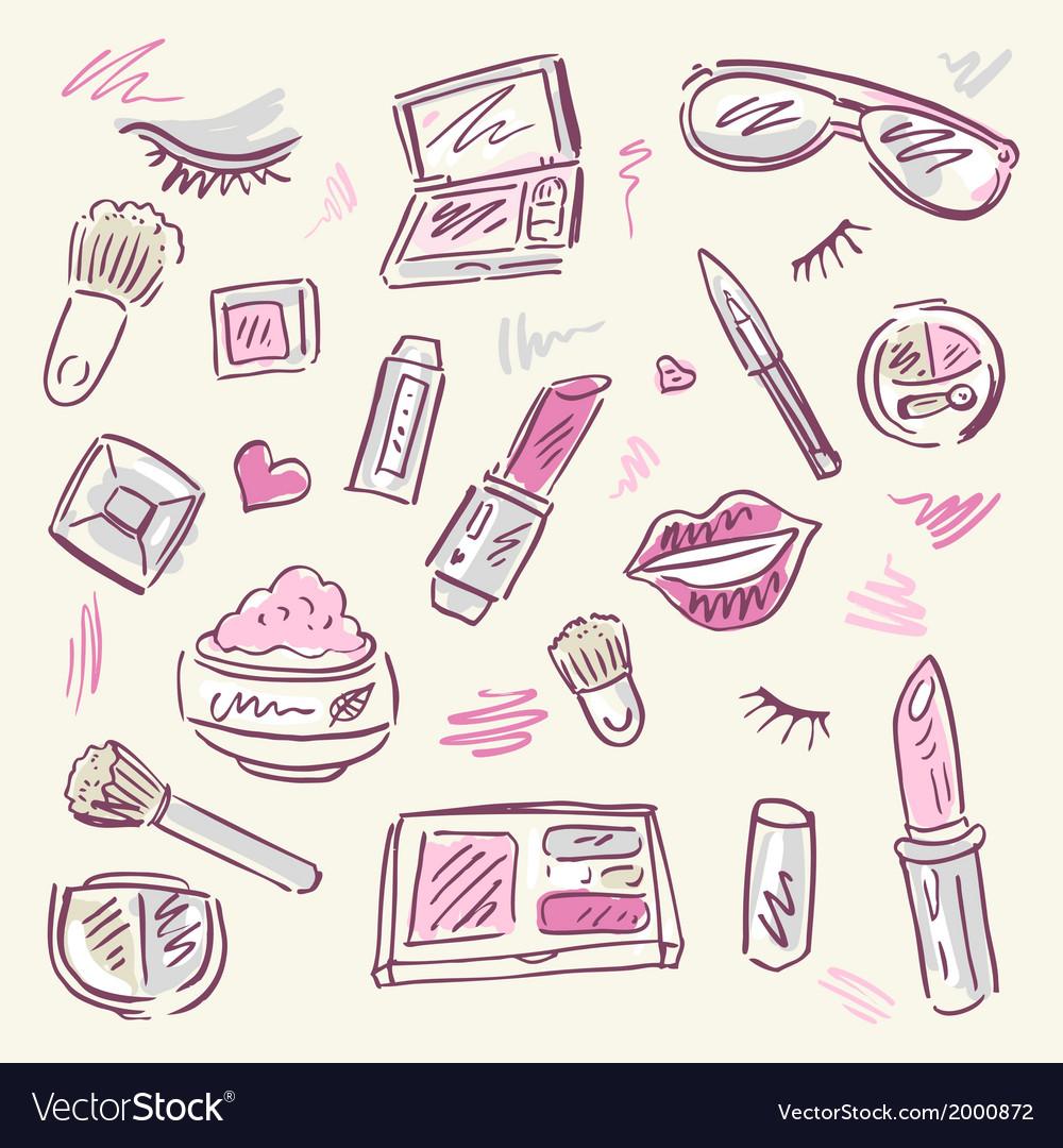 Cosmetics makeup set vector   Price: 1 Credit (USD $1)