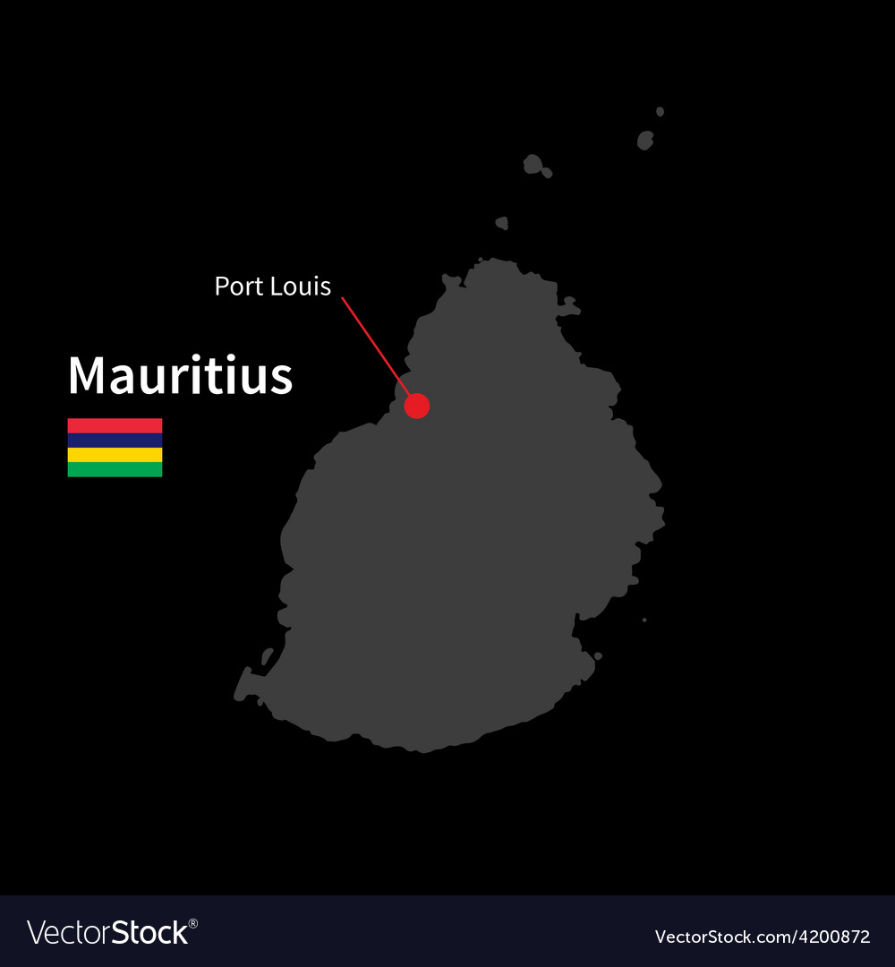 Detailed map of mauritius and capital city port vector | Price: 1 Credit (USD $1)