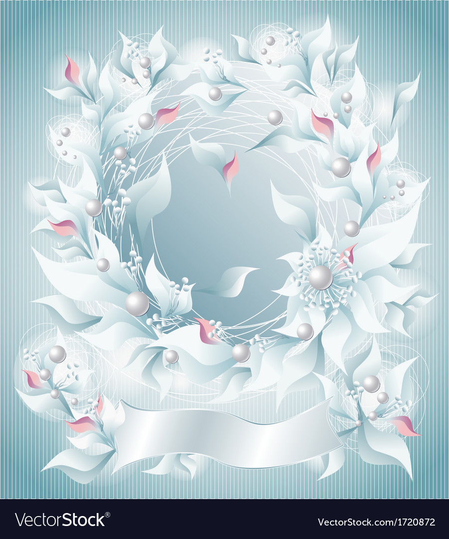 Frame or background with flowers pearls petals rib vector | Price: 1 Credit (USD $1)