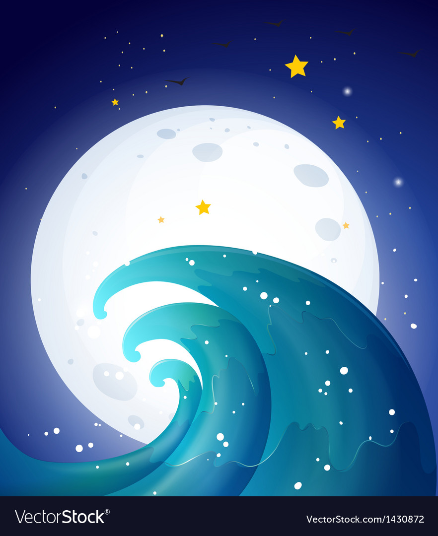 Moonlight and the waves vector | Price: 1 Credit (USD $1)