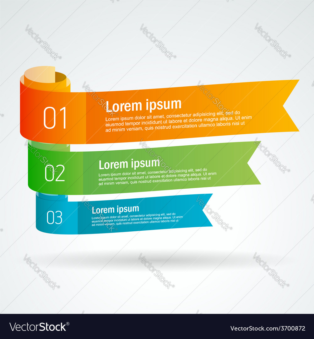 Number list ribbon roll strip colored element set vector   Price: 1 Credit (USD $1)