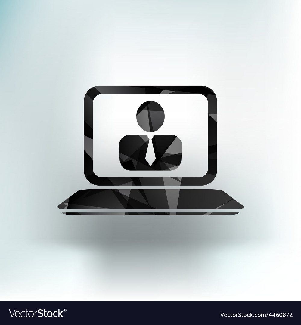 Office work icon icon laptop isolated human vector | Price: 1 Credit (USD $1)