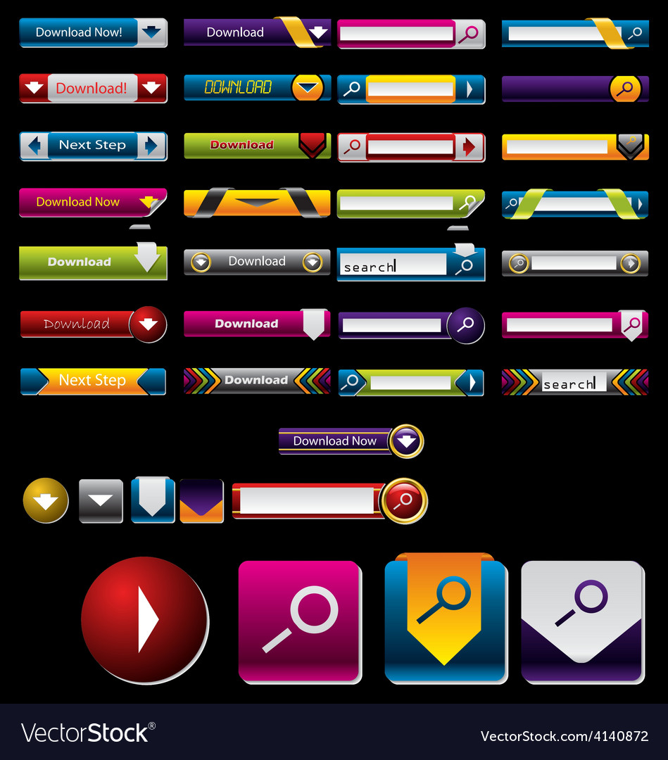 Search and download button vector | Price: 1 Credit (USD $1)