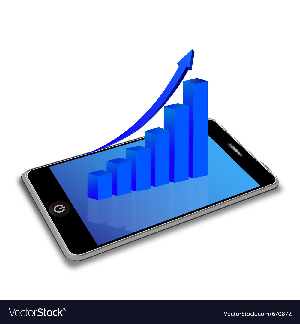Smart phone and business graph vector | Price: 1 Credit (USD $1)