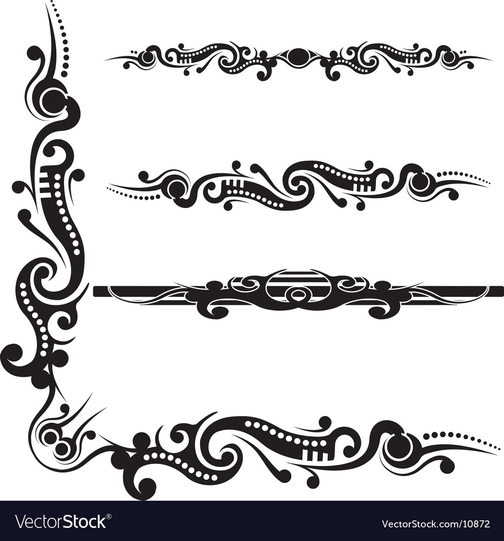 Tribal scroll flourish vector | Price: 1 Credit (USD $1)