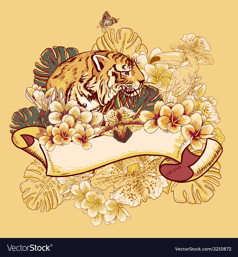 Tropical exotic floral card with toucan and tiger vector | Price: 1 Credit (USD $1)