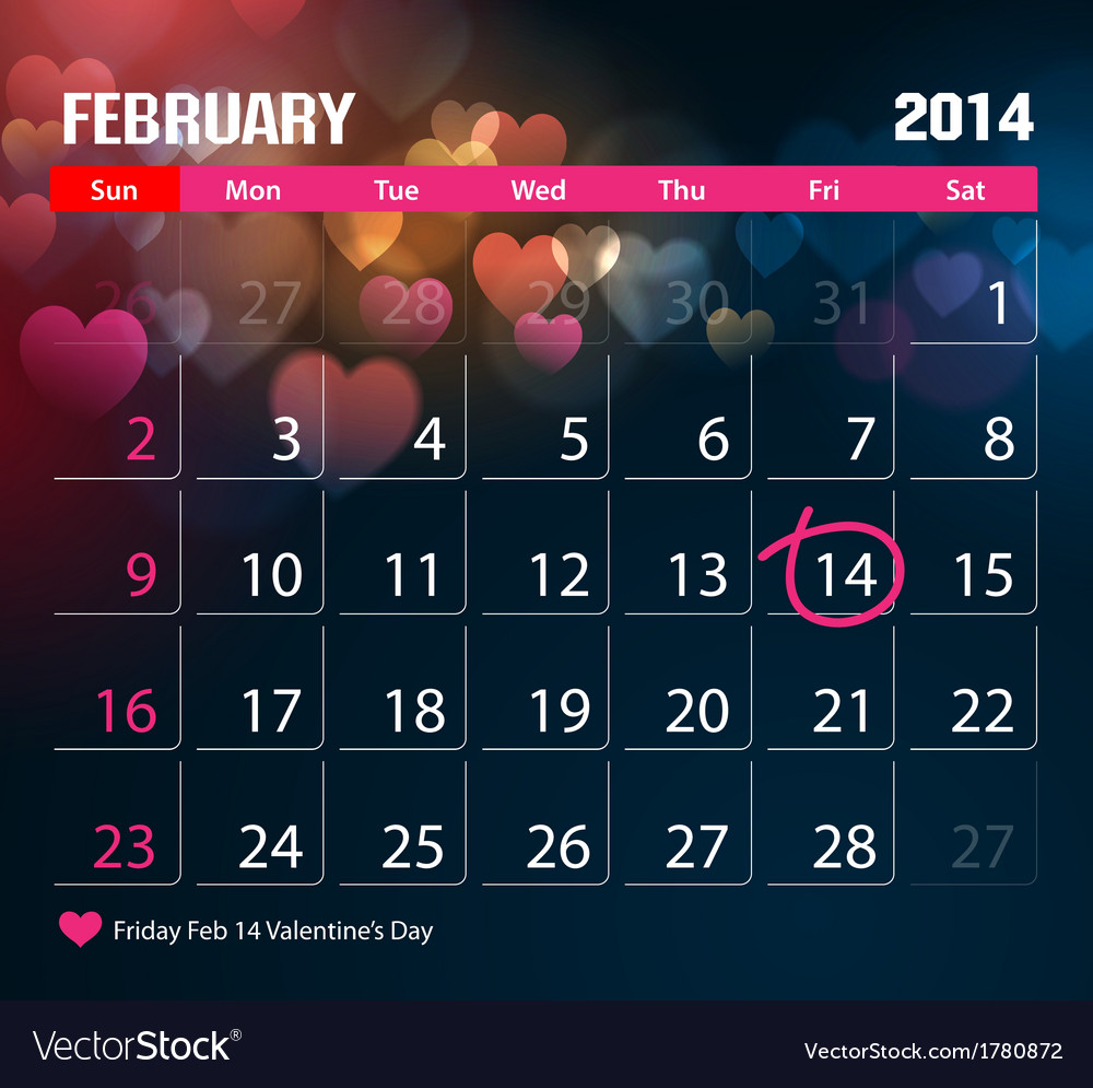 Valentine day calendar 2014 vector | Price: 1 Credit (USD $1)