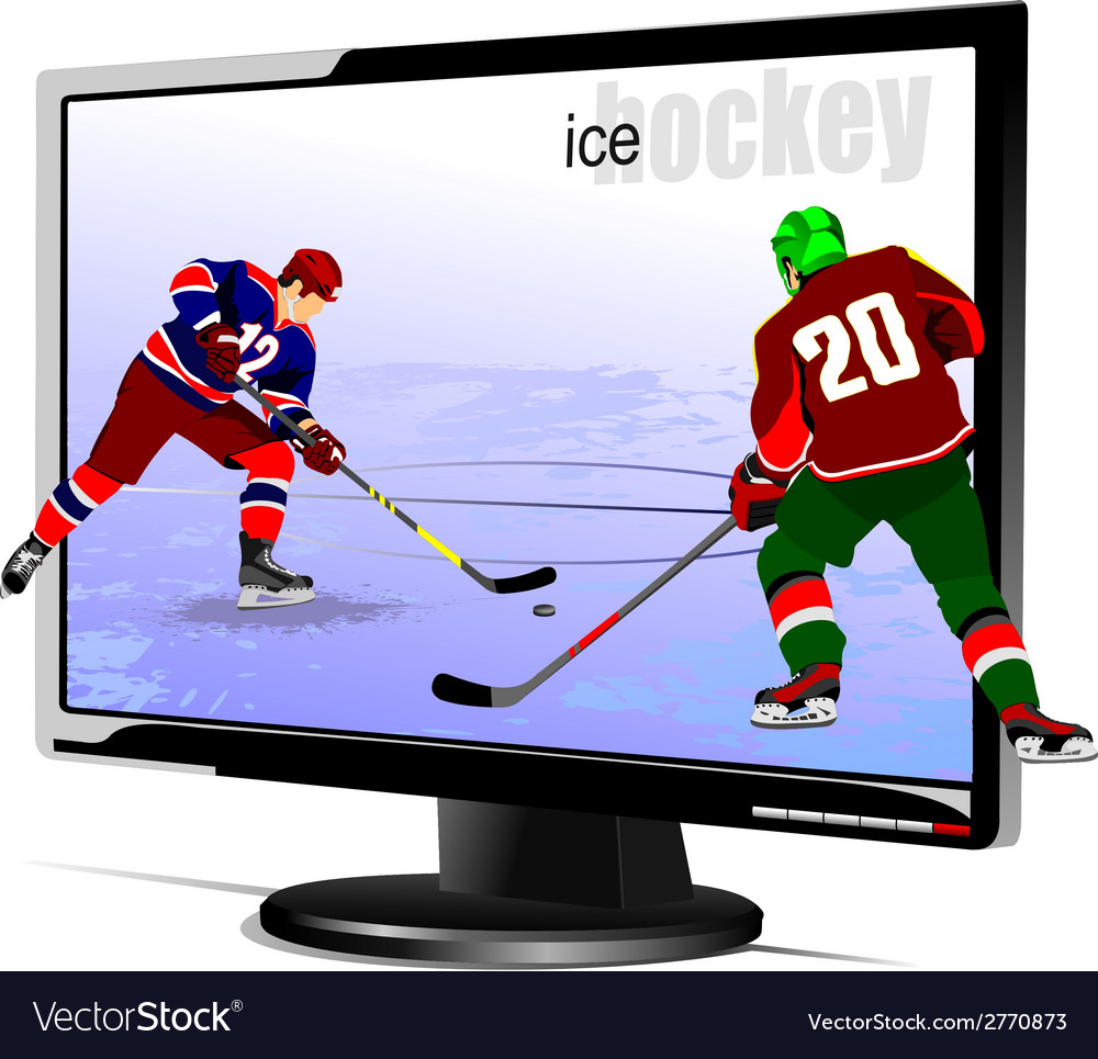 Al 0839 monitor and hockey vector | Price: 1 Credit (USD $1)