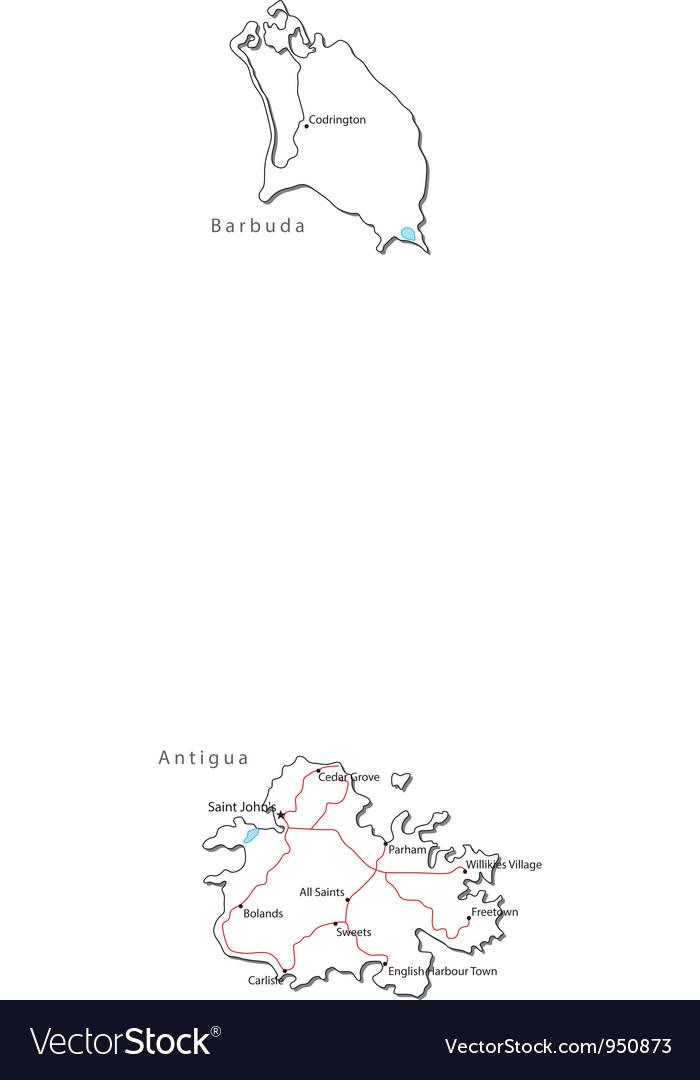 Antigua barbuda black white map vector | Price: 1 Credit (USD $1)