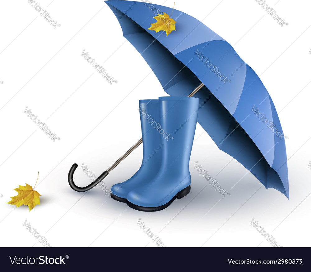 Background with blue umbrella and rain boots vector | Price: 1 Credit (USD $1)
