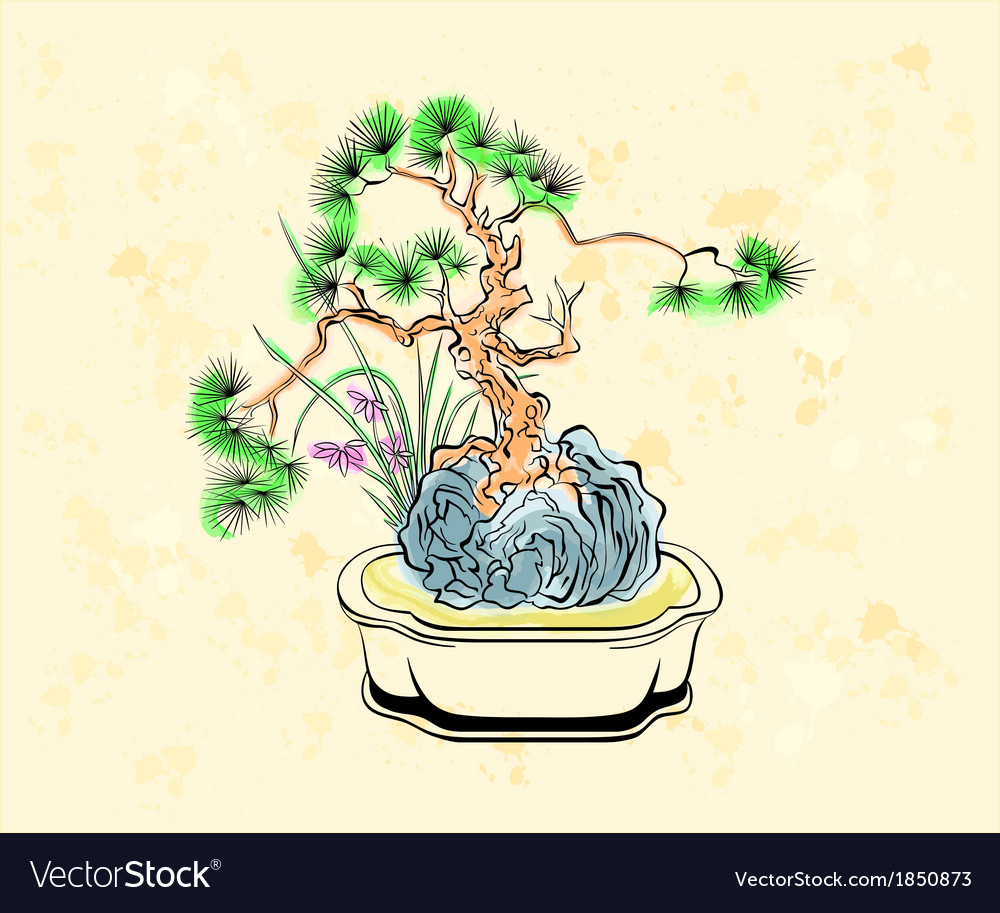 Bonsai art vector | Price: 1 Credit (USD $1)
